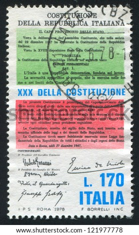 ITALY - CIRCA 1978: stamp printed by Italy, shows Constitution, circa 1978