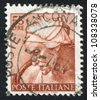 ITALY - CIRCA 1961: stamp printed by Italy, shows Designs from Sistine Chapel by Michelangelo, Cumaean Sybil, circa 1961 - stock photo
