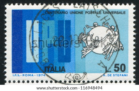 ITALY - CIRCA 1974: stamp printed by Italy, shows Emblem of Universal Postal Union, circa 1974