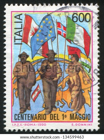 ITALY - CIRCA 1990: stamp printed by Italy, shows Labor day, circa 1990
