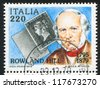ITALY - CIRCA 1979: stamp printed by Italy, shows Penny Black and Rowland Hill, circa 1979 - stock photo