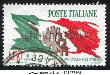 ITALY - CIRCA 1965: stamp printed by Italy, shows Ruins of city and torn Italian flag, circa 1965 - stock photo