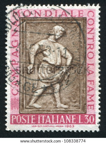 ITALY - CIRCA 1963: stamp printed by Italy, shows Sower, sculpture from Maggiore Fountain, Perugia, circa 1963 - stock photo