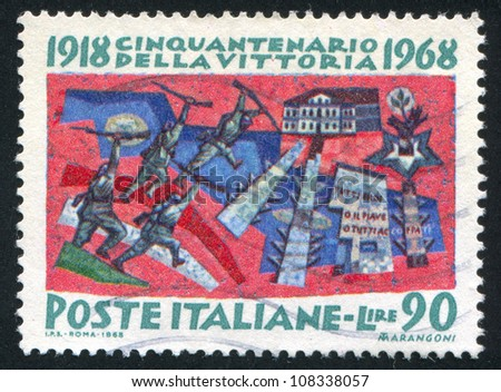 ITALY - CIRCA 1968: stamp printed by Italy, shows The Battle of Vittorio Veneto, circa 1968