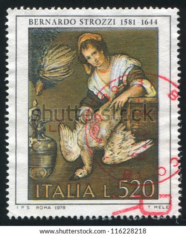 ITALY - CIRCA 1978: stamp printed by Italy, shows The Cook by Bernardo Strozzi, circa 1978