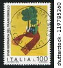 ITALY - CIRCA 1976: stamp printed by Italy, shows Tree and rabbit flowers by children drawing, circa 1976 - stock photo