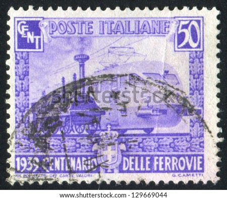 ITALY - CIRCA 1939: stamp printed by Italy, shows Various locomotives, circa 1939