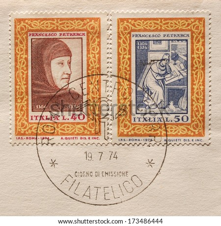 ITALY - CIRCA 1974: Two stamps printed in Italy to commemorate the 600th anniversary of Francesco Petrarca (1304-1374) in 1974   - stock photo