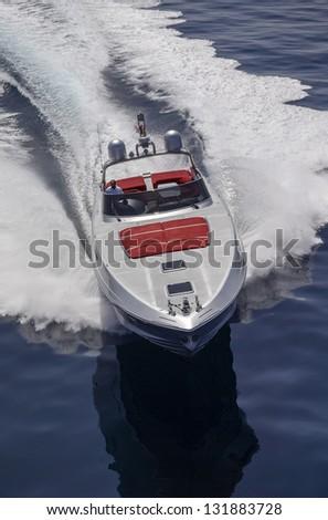 Italy, Circeo (Rome), Tyrrhenian sea, Rizzardi 63 luxury yacht, aerial view - stock photo