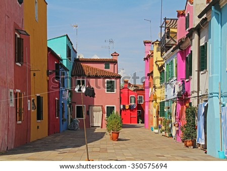 Italy. Colorful apartment building in Burano, Venice.