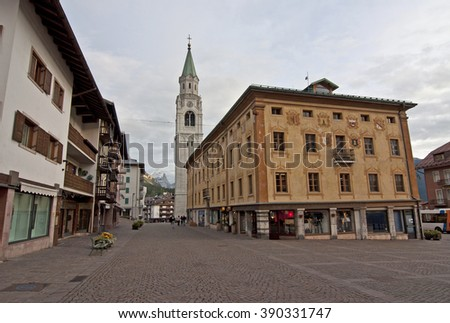 Italy, Cortina d'Ampezzo. / Cortina d'Ampezzo is a town and commune in the heart of the southern Alps in the Veneto region of Northern Italy.