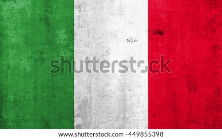 italy  country flag with grunge wall texture background.