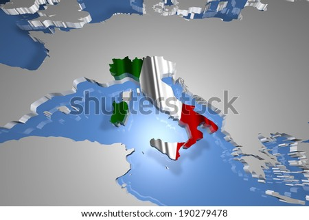 Italy Country Map on Continent 3D Illustration