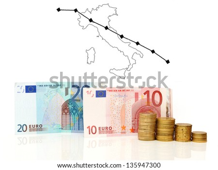 Italy crisis chart - stock photo