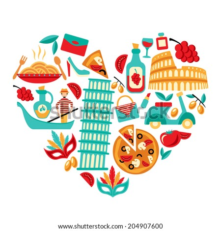Italy decorative elements icons set in heart shape  illustration - stock photo