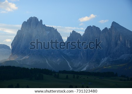 Italy Dolomite mountain called Alpe di Siusi
