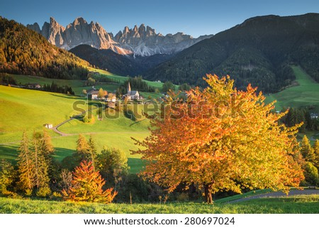 Italy, Dolomites Odle Alps, Funes Valley in autumn - stock photo