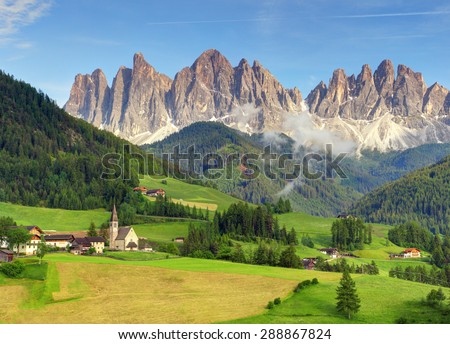 Italy dolomites - Val di Funes - stock photo
