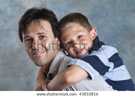 Italy, father and son portrait
