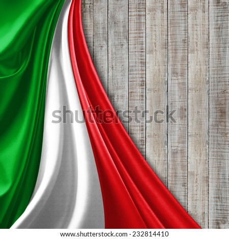 Italy flag and wood background