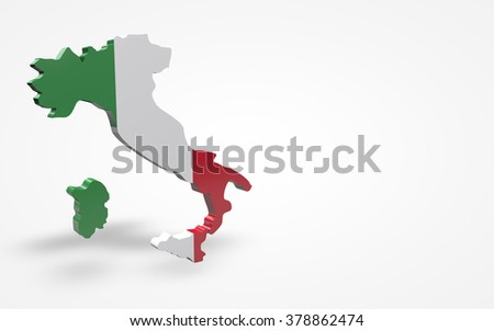 Italy flag 3d perspective view isolated