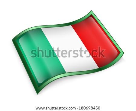 Italy Flag Icon, isolated on white background - stock photo