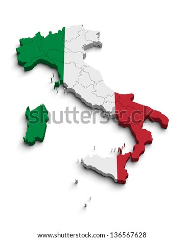 Italy flag map on white isolated