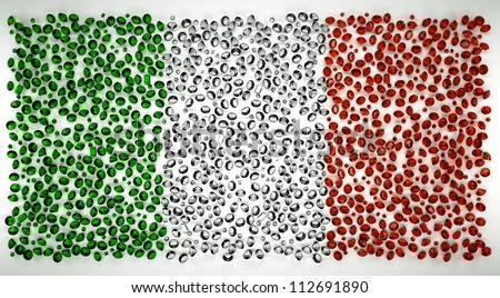 Italy flag of precious stones diamont emerald, ruby - stock photo