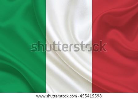 italy flag of silk - stock photo