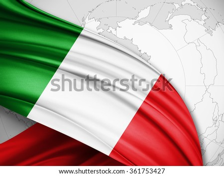 Italy  flag of silk with copyspace for your text or images and world background