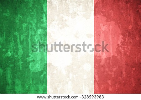Italy flag on concrete textured background