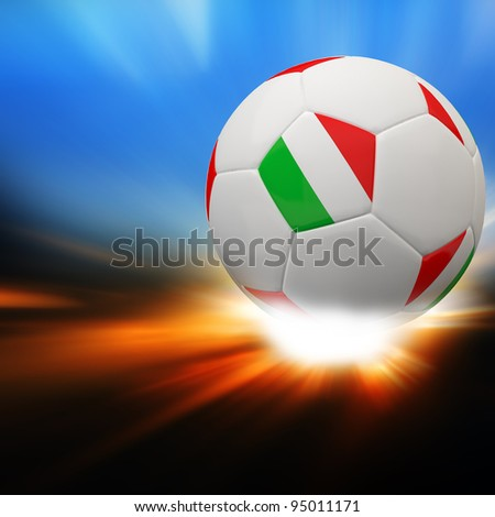 Italy flag on 3d football for Euro 2012 Group C