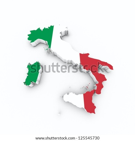 italy flag on 3d map