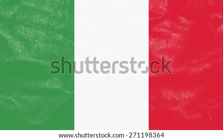 Italy flag on leather texture - world flag textured