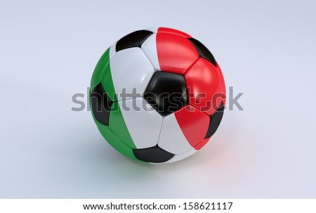 Italy flag on soccer, football ball