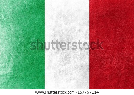 Italy Flag painted on leather texture - stock photo