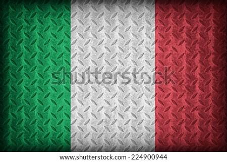 Italy flag pattern on the diamond metal plate texture ,vintage style - stock photo