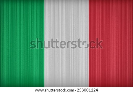 Italy flag pattern on the fabric curtain,vintage style - stock photo