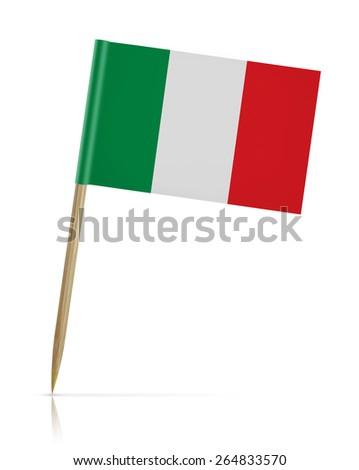 Italy flag toothpick on white background - stock photo