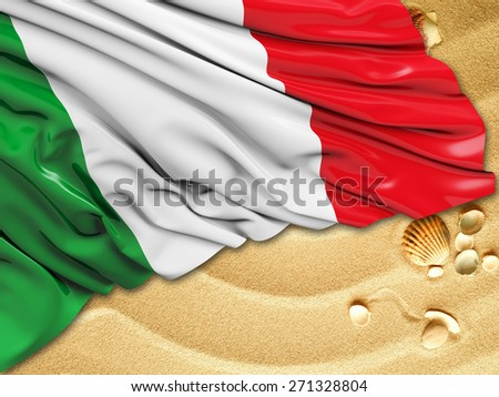 Italy Flag with sand - stock photo
