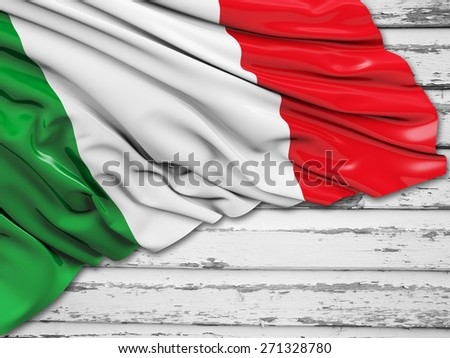 Italy Flag with wood - stock photo