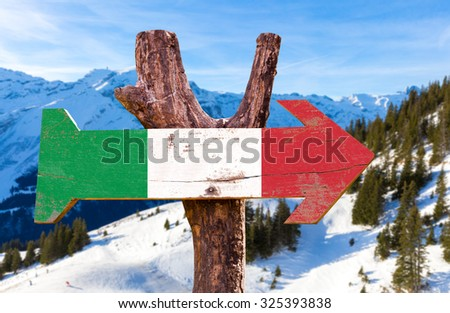 Italy Flag wooden sign with winter background - stock photo
