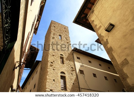 Italy. Florence. Bottom view of the ancient city's architecture. - stock photo