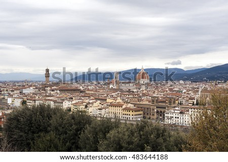 Italy. Florence. Landscape view of the historical centre