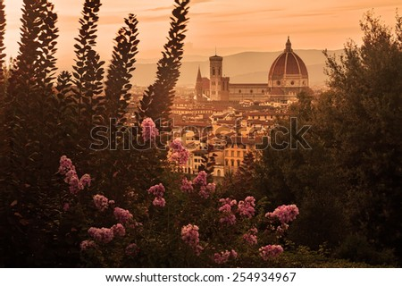 Italy: Florence's Cathedral at sunset
