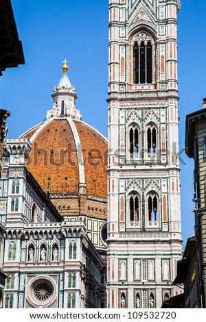 Italy, Florence. The famous landmark Campanile di Giotto, close to Duomo di Firenze - stock photo