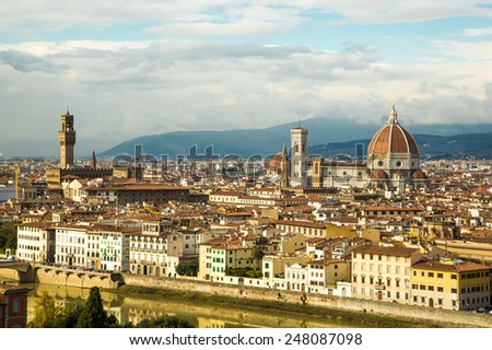 Italy. Florence. View to the city and Cathedral Santa Maria dell Fiori.