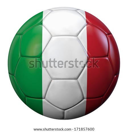Italy football with Italian flag texture. Clipping path included for easy selection. - stock photo