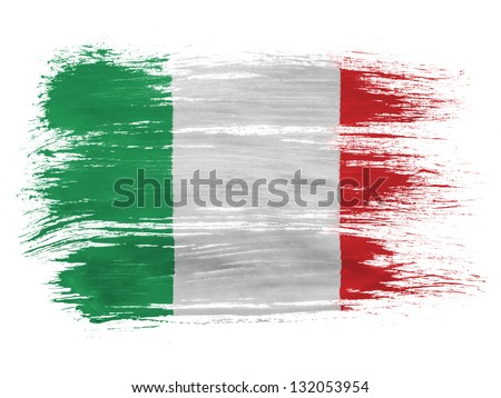 Italy. Italian flag  on white background - stock photo