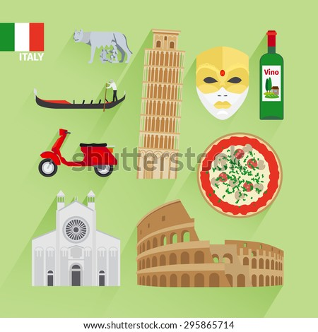 Italy landmarks flat icons. Leaning tower and Venetian mask, Coliseum and pizza - stock photo